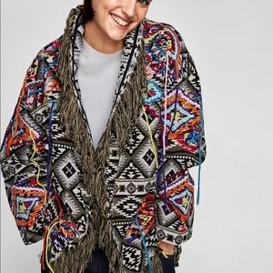 Zara embroidered jacquard coat 🧥